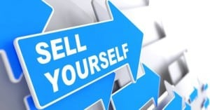 "Sell Yourself - Business Background. Blue Arrow with ""Sell Yourself"" Slogan on a Grey Background. 3D Render."